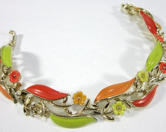 Golden Clasp Bracelet With Autumn Colored Leaves And Accent Blossoms Vintage 1980's