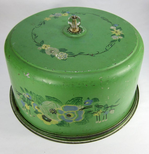 Vintage Green Metal Cake Plate And Cover With By Turnervintage