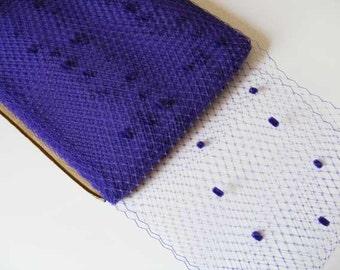 1 metre of  Spot Millinery Veiling in Purple, 21cm wide