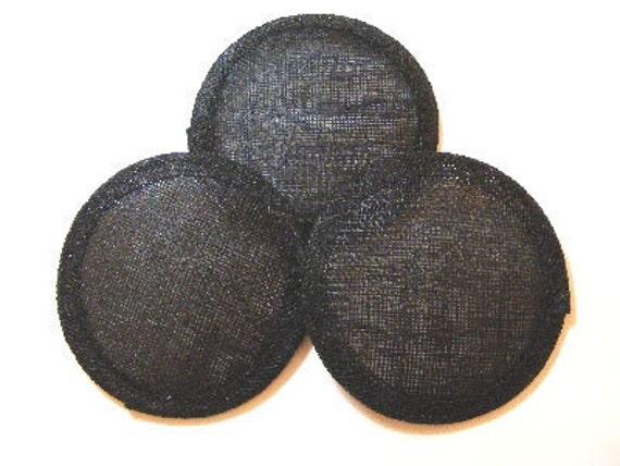 3x  10cm diameter sinamay fascinator base - Black