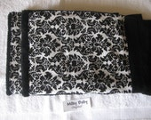 DAMASK guest towel 1 bath  towel in damask trim beautiful bath or kitchen  elegant design cotton