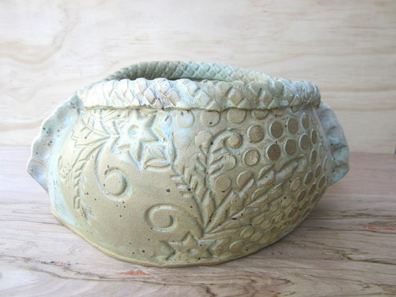 Large Stoneware Pottery Floral & Dot Casserole Serving Dish - made to order