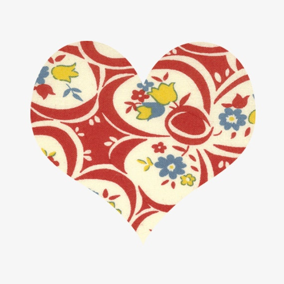 Cotton Fabric By The Yard American Jane Punctuation for Moda- Red Flowers