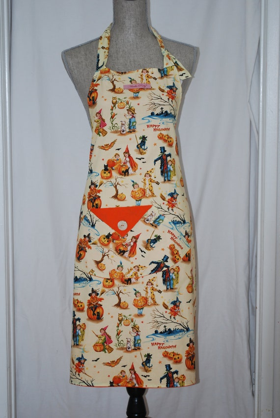 Adult 1950 print Halloween Apron Original Pockets with Orange backing