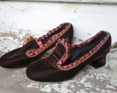 SALE Velvet ribbon shoes slippers brown Victorian Goth Steampunk Brooklyn NYC style