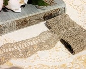 Tulle Embroidered Floral Lace in Fawn - Scrapbooking, Card Making, Sewing, Bridal