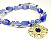 Blue Cats Eye Glass Double Stranded Necklace