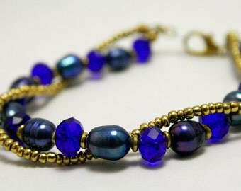 Blue and Gold Spiral Pearl Bracelet