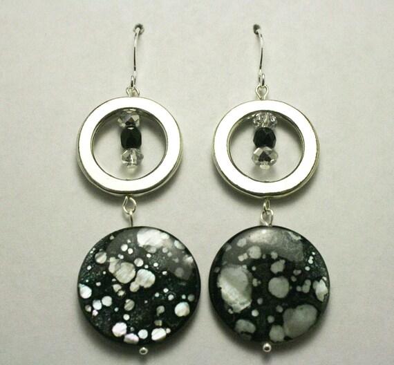 Black and White Spaller Paint Earrings