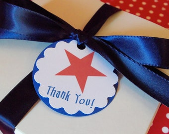 July 4th Patriotic Favor Tags Star American Flag Red White Blue
