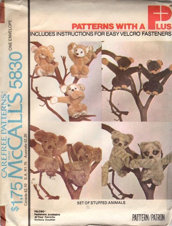 Vintage 1974 McCalls 5830 Stuffed Animals Monkey Koala Bear Raccoon Honey Bear