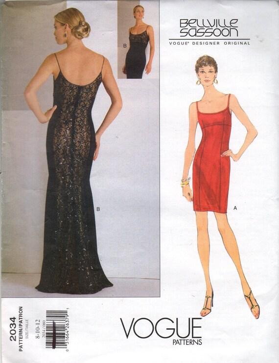 Vogue 2034 Bellville Sassoon  Designer Dress Pattern Sizes 8 to 12