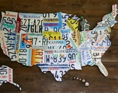 LICENSE PLATE MAP of United States large 3-dimensional metal barn wood rustic