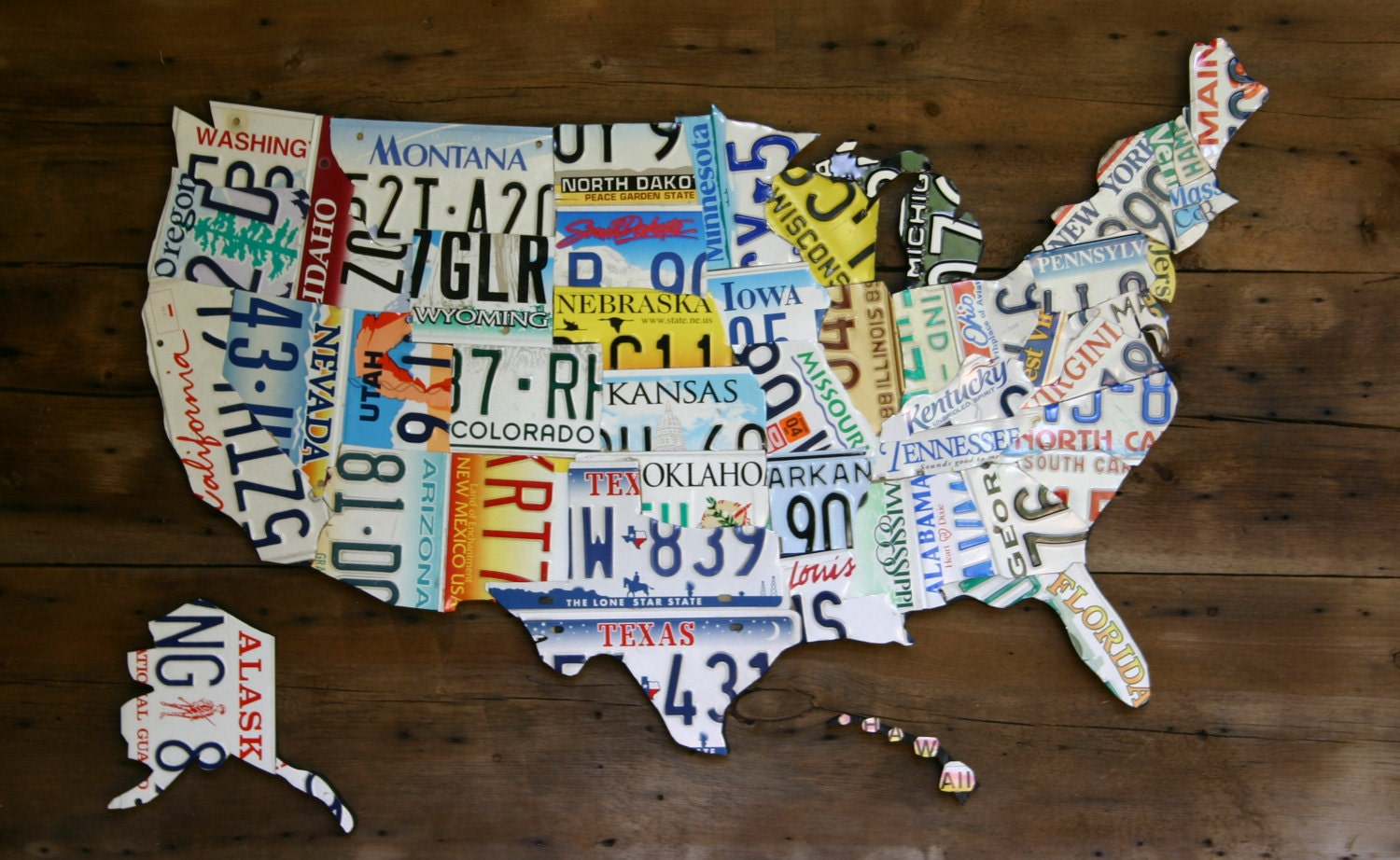 License Plate Map Of United States Large 3 Dimensional Metal