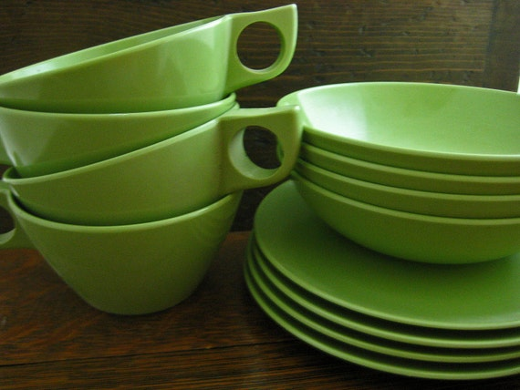 Vintage Green Melmac Dish Set Tea Cups Cereal Bowls and