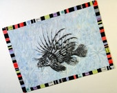 Lionfish- Quilted Fabric Postcard