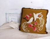 Vintage Linen Pillow Cover Crewel Embroidery