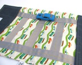 Kids Toy. Boy. Girl. Children. Travel Game. Take Along Billy Car Rollup and Play Mat in Green,Orange, and White Wheels. Children Activity.
