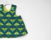 Toddler Dress. Shirt. Reversible Pinafore Apron Dress in Teal Green, Lime Luna Moths & Bees. Children Fashion. Easter Dress. Spring.