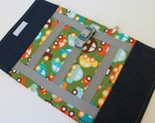 Kids Toy. Boys Car Toy. Take Along Billy Car Rollup and Play Mat. Forest Green. Red. Blue. Organic Cotton. Children Activity. Travel Game.