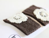 Chocolate Hair Clips. Woodland Wedding. Eco Felt & Upcycled Crocheted Flower Clip Set in Coffee Brown and Cream. Chocolate Brown.