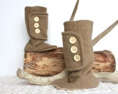 Knee High Boots.  Children Fashion. Leather Soled Baby Booties. Tan Polar Fleece with Wood Buttons. Woodland. Warm.