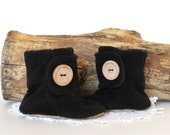 Black Baby Booties. Boots. Children Fashion. Winter. Cozy. Leather Sole. Winter Fashion. Slippers. Toddler. Children. Wood Button.