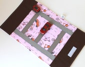 Girls Car Mat. Kids Toy. Take Along Billy Car Rollup and Play Mat in Pink and Orange Cars and Scooters. Children Activity. Travel Game.