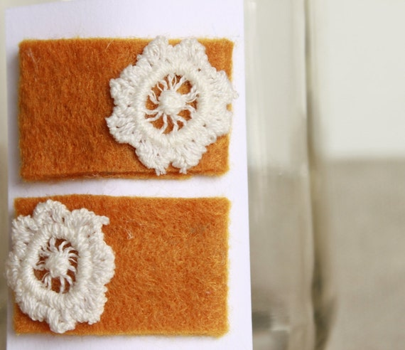 SALE Hair Clips. Eco Felt and Upcycled Crocheted Flower Hair Clip Set in Mustard Yellow. For Her. Women. Girl. Child. Baby. Gold