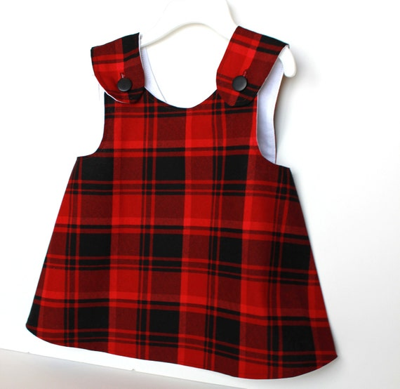 Children Fashion. Back To School. Lined Pinafore Apron Shirt in Red & Black Plaid. 12 Months and Up. Autumn Fashion. Girls Clothes. Top.