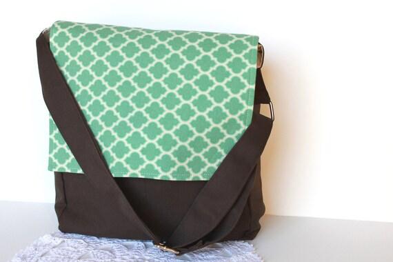 Teal Messenger Bag. Children Fashion. Kids Tote Bag. Boy. Girl. Toy Case. Girls Purse. Handbag. Geometric.