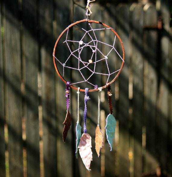 Dreamcatcher with Embroidered Feathers - Purple, Brown, Mint, Light Pink with Gems