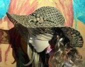 Wide Brim Loose Weave Straw Floppy Hat