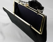 Vintage Black Fabric Clutch with Ornate Clasp and Chain Handle circa 1940-1960