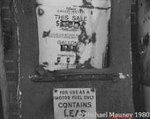 Original Black and White Series of Old Gas Pumps by Michael Mauney circa 1970s
