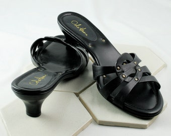 Vintage Cole Haan Black Slides with Brass Studs and Stacked Heels.  Size 6B