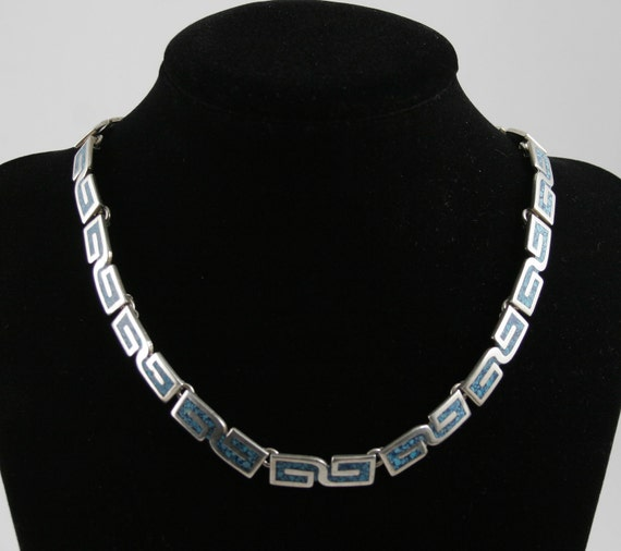 Vintage Stunning Turquoise and Taxco Sterling Silver Necklace circa 1970s.