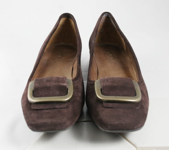 Beautiful Vintage Brown Suede Flats with Brass Buckle by Talbots circa 1980s Size 8B