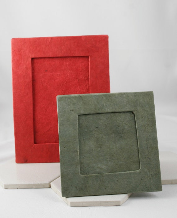 Vintage Paper Frames in Deep Scarlet Red and Medium Pewter Grey - Unused - circa 1980s.  Holds 4x6  and Smaller Photos