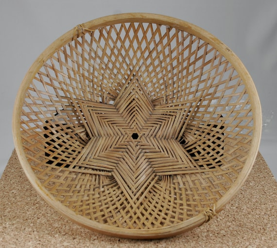 Vintage Wicker Shallow Basket In Star of David Pattern circa 1950s