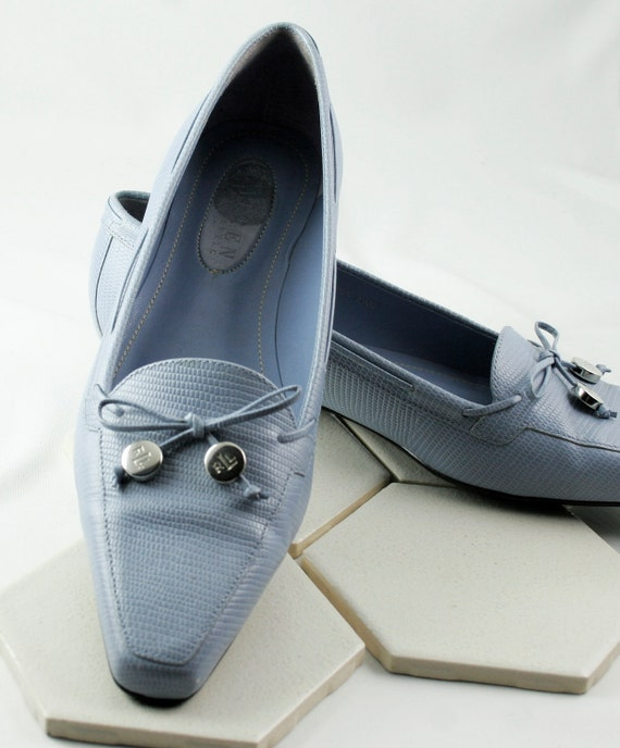 Beautiful Womens Powder Blue Leather Loafers by Ralph Lauren circa 1990s Size 7 1/2 B