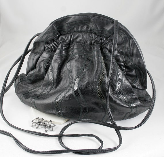Black Crossover Handbag/Clutch in Leather and Snakeskin by 7 Seven Handbags by Dimitri Circa 1980s