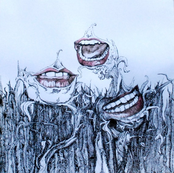 Three sisters: Unique pen and Ink drawing of a black and white garden with red mouths