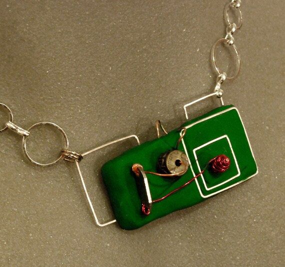 Polymer clay necklace: Miniature green and silver circuit board