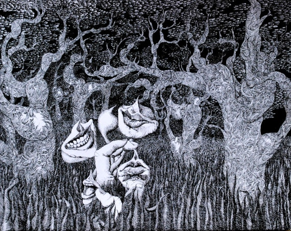 """Original pen & ink drawing """"Conversations at Midnight"""" Black and white"""