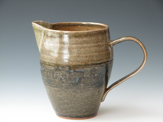 Handmade Pottery Pitcher, Carbon Trap Shino Brown Pitcher
