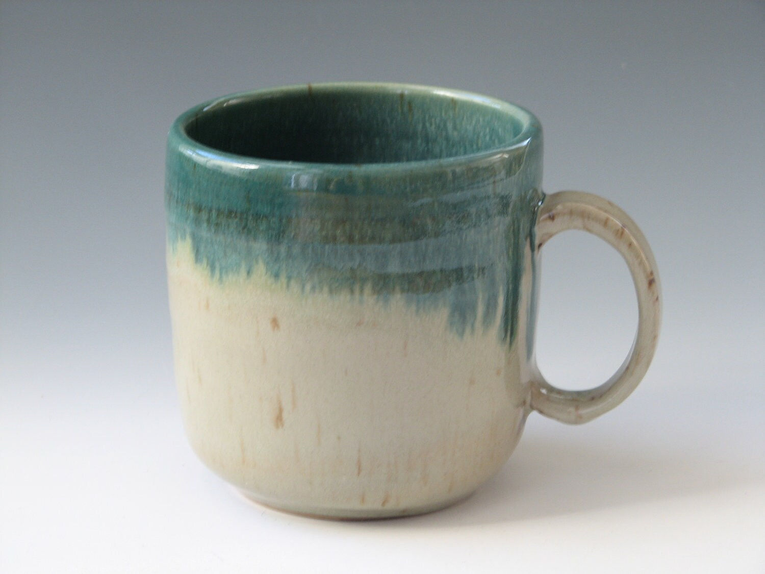 Coffee mug handmade stoneware pottery mug olive green ceramic for Handmade mug designs