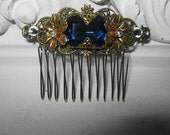 SAPPHIRE Hair comb blue hair cmb filigree hair comb wedding comb bridesmaid comb hair accessories bridal accessories wedding accessories