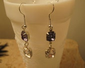 Vintage Inspired Swarovski Tanzanite and crystal Earrings Sterling silver plated Double Octagon Rhinestone Dangle Bridal