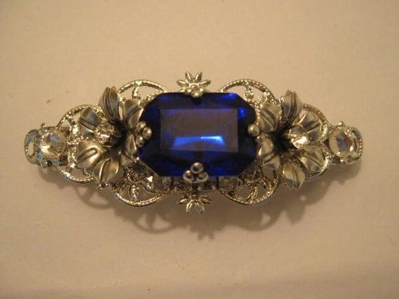 SAPPHIRE blue hair clip Sterling Silver Ox Barrette  wedding jewelry bridal clip wedding accessories hair accessories bridal accessories